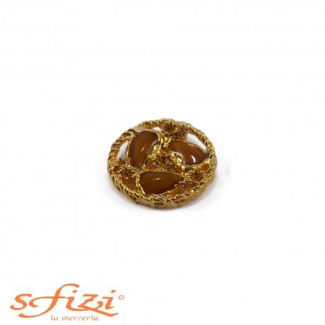 Bottone castonato Placcato Oro con Pietre mm 30