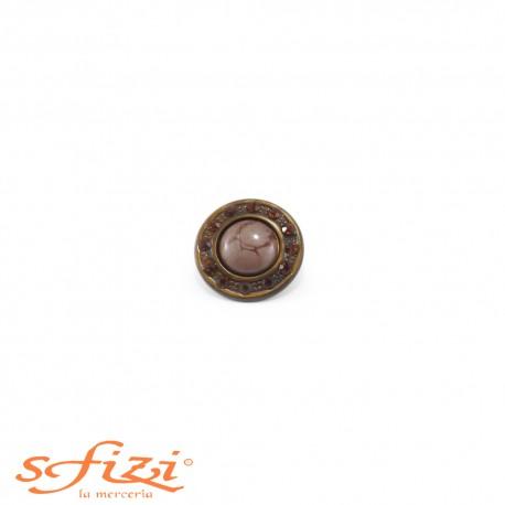 Bottone Ghiera Oro antico con strass Ambra e centrale laccato mm 20
