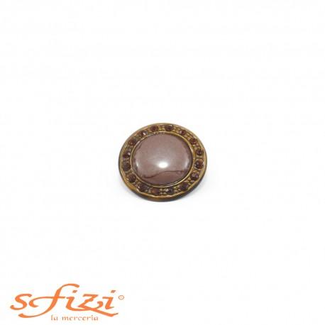 Bottone Ghiera Oro antico con strass Ambra e centrale laccato mm 25