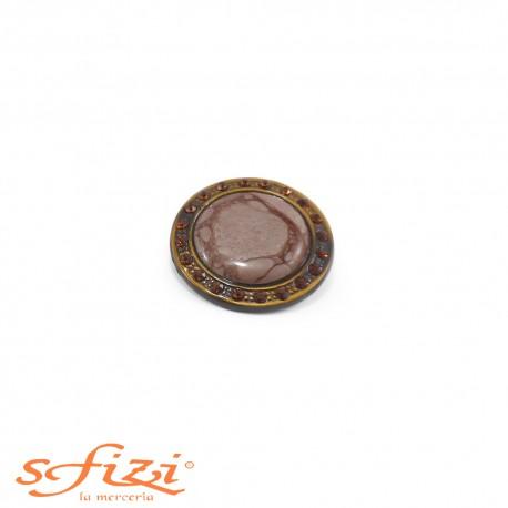 Bottone Ghiera Oro antico con strass Ambra e centrale laccato mm 30