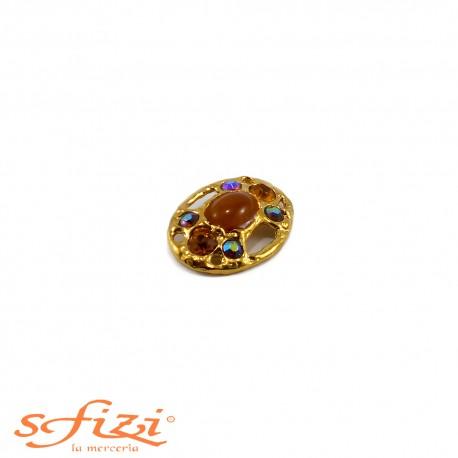 Bottone Placcato Oro con Strass Boreali e Ambra re laccatura centrale mm 35 x 25