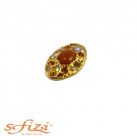Bottone Placcato Oro con Strass Boreali e Ambra re laccatura centrale mm 45 x 30