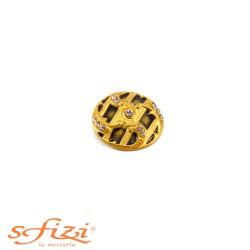 Bottone Placcato Oro con Strass castonati e centrale laccato mm 30
