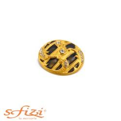 Bottone Placcato Oro con Strass castonati e centrale laccato mm 40