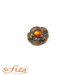 Bottoni Castonati in metallo Placcato Oro montatura floreale mm 25