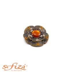 Bottoni Castonati in metallo Placcato Oro montatura floreale mm 30