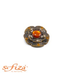 Buttoned metal buttons Gold Plated floral frame 30 mm