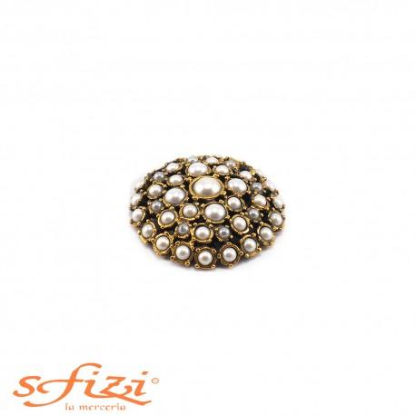 Bottoni Placcati Castonati Oro con Perle mm 45