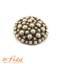 Castonati Gold Plated Buttons with Pearls 70 mm