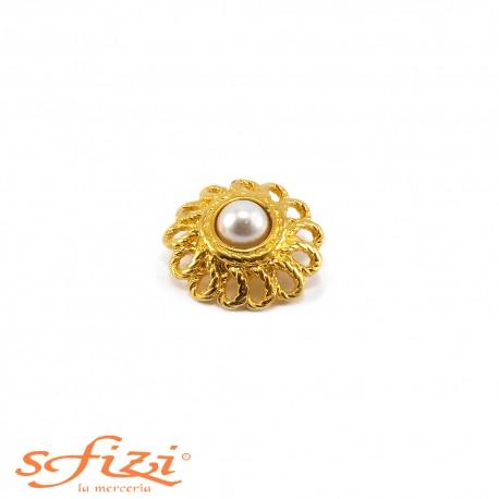 Bottoni Placcati Oro con castoni forma floreali e perla centrale mm 30