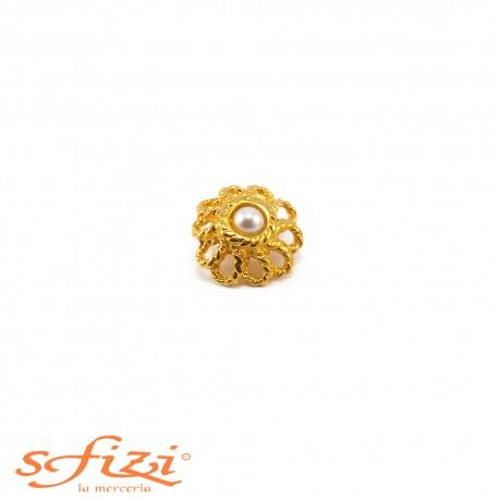 Bottoni Placcati Oro con castoni forma floreali e perla centrale mm 20