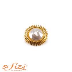 Bottoni Placcati Oro con Perla Centrale Grezza mm 40