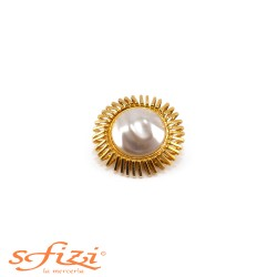 Gold Plated Buttons with Rough Central Pearl 40 mm