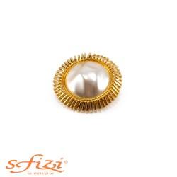 Bottoni Placcati Oro con Perla Centrale Grezza mm 50