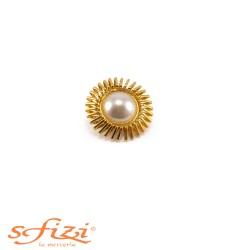 Bottoni Placcati Oro con Perla Centrale mm 35