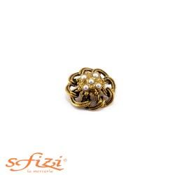 Bottoni Placcati Oro con Perle mm 36