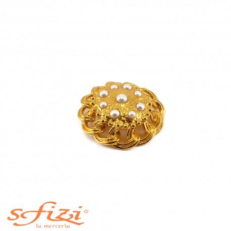Bottoni Placcati Oro con Perle mm 50