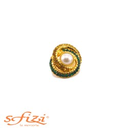 Gold Plated Buttons with Amber and Green Rhinestones with central Pearl 20 x 24 mm
