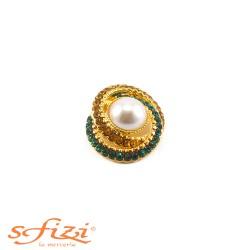 Bottoni Placcati Oro con Strass Ambra e Verdi con Perla centralei mm 25 x 30