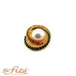 Bottoni Placcati Oro con Strass Ambra e Verdi con Perla centralei mm 27 x 33