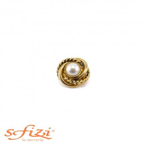 Bottoni Placcati Oro intrecciato con perla centrale mm 20