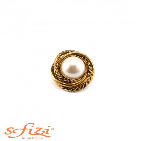 Bottoni Placcati Oro intrecciato con perla centrale mm 30