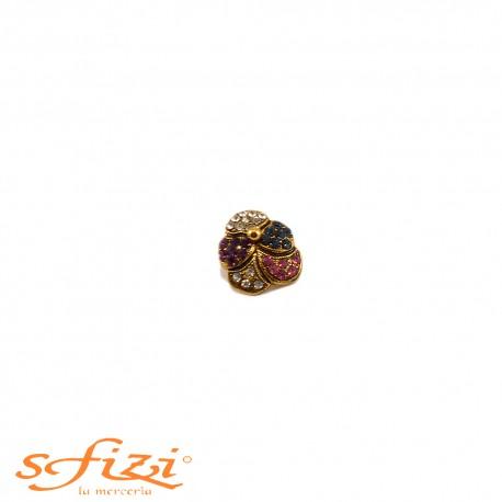 Bottoni Strass forma floreale placcato oro mm 14
