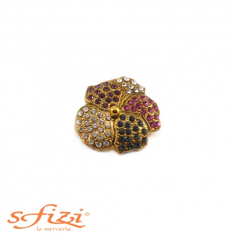 Bottoni Strass forma floreale placcato oro mm 33