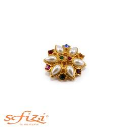 Bottoni Strass Multicolor con perle castonate placcato oro mm 28