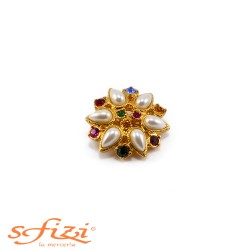 Multicolor rhinestone buttons with 28mm gold plated castonate beads