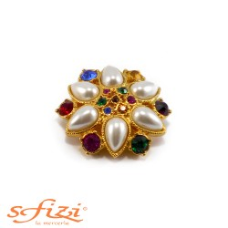 Multicolor rhinestone buttons with 42mm gold plated beaded pearls