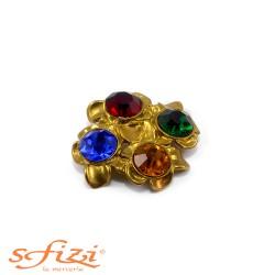 Bottoni Strass Multicolor placcato oro satinato mm 40
