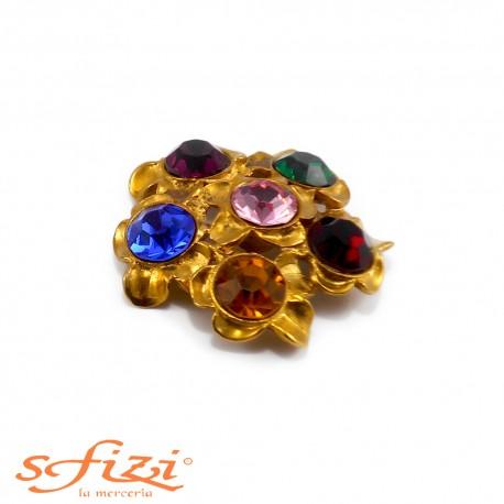 Bottoni Strass Multicolor placcato oro satinato mm 50