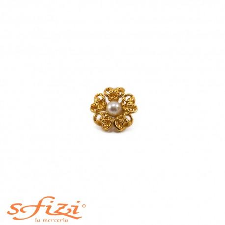Bottone Ghiera lavorata placcato Oro e perla