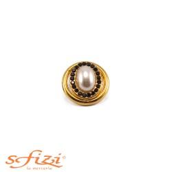 Bottone Ghiera liscia placcato Oro con perla e strass