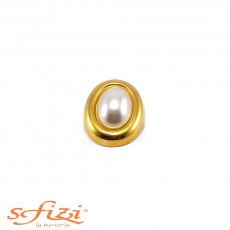 Bottone Ghiera liscia placcato Oro e perla