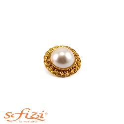 Bottone Ghiera placcato Oro con perla