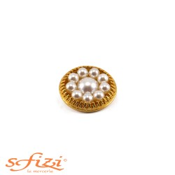 Bottone Ghiera placcato Oro e perle