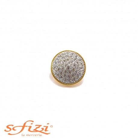 Bottone placcato Oro con campana micro Strass