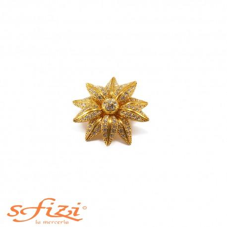 Bottone placcato Oro con ghiera floreale e micro Strass