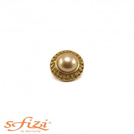 Bottone Placcato Oro con Perla centrale mm 22 Il Gioiello di Firenze