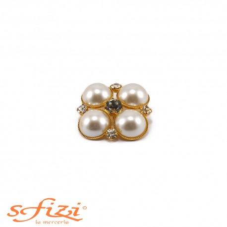 Bottone Placcato Oro con Perle e Strass