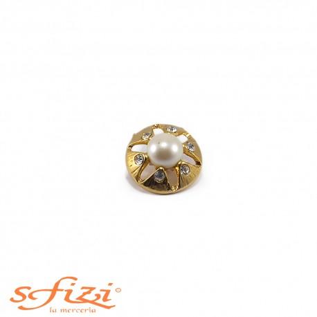 Bottone Placcato Oro con Perle e Strass mm 18 Il Gioiello di Firenze