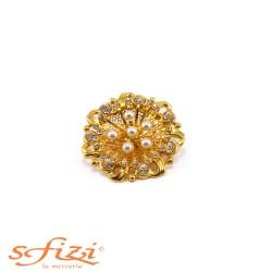 Bottone Placcato Oro con Perle e Strass mm 45 Il Gioiello di Firenze