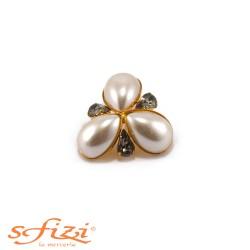 Bottone Placcato Oro Modello Floreale con perle