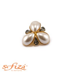 Gold Plated Floral Pattern Button with Pearls