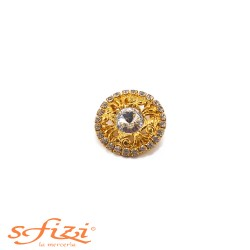 Micro strass and zirconia gold plated button