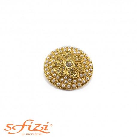 Bottone placcato Oro con Strass e Perle castonate