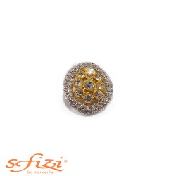 Gold and Silver plated button with Strass