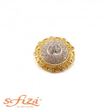 Bottone placcato Oro e Argento con zircone centrale e micro Strass